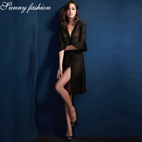 aca807dbb4 Sexy Lingerie Dress Hot Women Erotic Lingerie Cardigan Transparent Porno Underwear  Long Sleeve Sex Shirt Sleepwear Dress