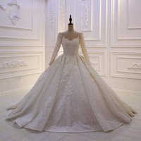 Wholesale sexy wedding dress real for sale - 2019 Vintage Sexy Lace Ball Gown Wedding Dresses Sheer Long Sleeves Lace up Corset Wedding Dress Custom Made Bridal Gowns Plus Size
