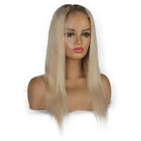 encaje completo peluca recta rubia al por mayor-Ombre Platinum Blonde Wigs # 8 # 60 Lace Front pelucas de cabello humano para mujeres negras brasileñas Remy rectas pelucas llenas del cordón
