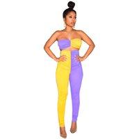 calçado amarelo roxo venda por atacado-Cor Patchwork Duas Peças Conjuntos de Treino Sem Alças Top Colheita E Alta Wiast Lápis Pant Roxo Amarelo 2 Peças Outfits