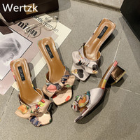 Wholesale animal face shoes for sale - Group buy Wertzk new Korean version sweet bow one word to drag Sardinia face print thick heel slippers women s shoes summer E453