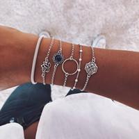 pulseras de la gema para las niñas al por mayor-Retro pulseras de múltiples capas hueco Set de 6 de la boda de playa muchachas de las mujeres de plata Lotus grano redondo de la gema de la cadena exquisita del partido joyería de la vendimia