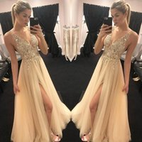 Wholesale plus size maternity tops for sale - Stunning American Prom Dresses Sexy V neck Sheer Top Beaded Sequins tulle vogue Front Slit Evening Party Gowns Boho Engagement Dress
