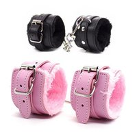 Wholesale ankle bracelets resale online - Sex Handcuffs PU Leather Plush Handcuff Adjustable Durable Cuffs Soft Restrain Wristband Ankle Bracelet for Lovers Sex