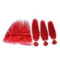 ingrosso tracce di capelli rossi-Trame di capelli umani malese onda rossa brillante con fasci di capelli vergini ondulati rosso frontale 3 pezzi con chiusura frontale di pizzo 13x4