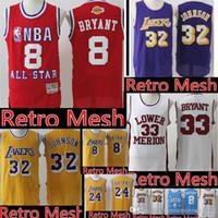 683d6e3c787 Los Angeles Retro Mesh Laker Basketball Jerseys Mesh 24 Kobe 8 Bryant high  school 33  Kobe 32 Johnson Jersey Mens stitched Logos