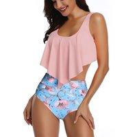 bikinis schick großhandel-Damen Retro Boho Bademode Volant High Waist Bikini Set Chic Badeanzug Rüschen Badeanzug für Sommer Mädchen