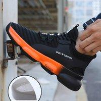 дышащие защитные сапоги оптовых-Легкие стальные ботинки пальца ноги безопасности работы Мужчины Открытая проколостойкий нерушимая безопасность Boots Мода Дышащие кроссовки Человек