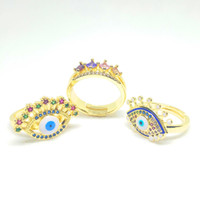 Wholesale rainbow cubic zirconia ring for sale - Group buy Cubic Zirconia Crown Ring Women k Gold Jewelry Rainbow Cz Ring Adjustable Turkish Evil Eye Rings For Women Gold Filled