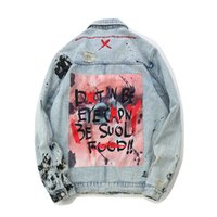 herren jacken rock groihandel-Mens Graffiti Jeansjacken Street Hip Hop Lässige Patchwork Ripped Distressed Punk Rock Jeans Mäntel Outwear