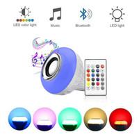 haut-parleur d'ampoules de bluetooth achat en gros de-Lampe LED Haut-parleur Bluetooth Sans fil + 12W Ampoule RGB 110V 220V Smart Led Lumière Lecteur de musique Audio avec télécommande Haut-parleur Lien de détail