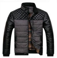 jaquetas para homens de algodão de primavera venda por atacado-Dropshipping primavera e inverno de espessura dos homens Jaquetas e Casacos PU Patchwork Designer de Moda Mens Jaquetas Outerwear Algodão