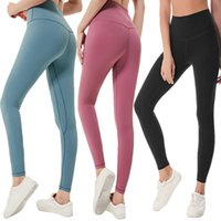 Wholesale yoga pants resale online - LU Solid Color Women yoga pants High Waist Sports Gym Wear Leggings Elastic Fitness Lady Overall Full Tights Workout