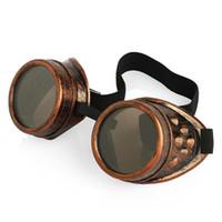 óculos de soldagem vintage venda por atacado-Óculos de Sol Do Vintage Do Punk Gótico Steampunk Óculos Óculos de Solda Cibernético Óculos de Viagem Das Mulheres Dos Homens Retro Óculos De Sol Do Partido Adereços A52301