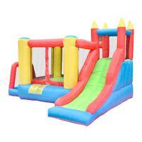 ingrosso palle di salto gonfiabili-Casa da gioco gonfiabile Bounce House, parete da arrampicata con scivolo 5 in 1, area per saltare, biliardo, canestro da basket