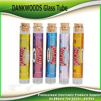 vapeur pour e-cigarettes achat en gros de-Le plus récent DANKWOODS vide en verre tube en bois liège embouts cartouches sec herbe aux herbes RAW avec des arômes autocollants Packwoods E Cigarettes Vapor Tubes