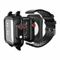 silikon tasche armband großhandel-Schutzhülle + Uhrenarmbänder für Apple Watch 3 iWatch Band 38 / 40mm 42 / 44mm Schwarz Weiches Silikonarmband Wasserdichtes Armband für Apple Watch