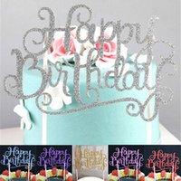 fuentes de la fiesta de cumpleaños de la magdalena al por mayor-Nuevo Glitter Script Cake Toppers Fiesta de Feliz Cumpleaños para Niños otros Favores Cupcake Supplies Decoraciones Herramientas FFA384 p