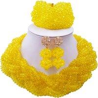 jubiläumsarmband ohrringe halskette großhandel-Gut erhalten gelbe Nigerian Kristall Perlen Halskette Ohrringe Armband Sets für Jubiläumsgeschenk 12C-BZ-34