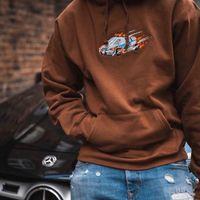 бархатные толстовки hoodies оптовых-19FW люкс европейского Cop автомобили Толстовка с капюшоном вышивка Velvet с капюшоном свитер высокого качества Пара Mens женщин дизайнер толстовка HFXHWY098