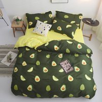 Wholesale queen beds for kids resale online - Avocado Cartoon Bedding Set for Kids Adult Duvet Cover King Queen Size Printing Bed Set Green Home Textiles Bedclothes Y200111