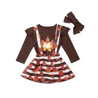 5t vestido de acción de gracias al por mayor-2 piezas de acción de gracias para niños, ropa de bebé niña, tops + falda, vestido de falda, trajes de fiesta