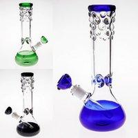verre soufflé vert achat en gros de-Bangs en verre bleu-vert noir avec le bol de la tige en bas de la tige Joint 14.4mm 29cm Fumer de la conduite d'eau Fumer l'huile de main-Soufflant Rigs Narguilé en ligne Percolateur plus rapide