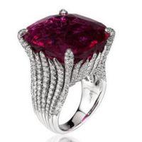 zinkringe großhandel-Designer Schmuck Rubin Ringe quadratische Zinke Einstellung Ringe für Frauen weibliche Schmuck heiße Mode versandkostenfrei