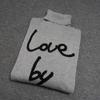 amor impresión suéter al por mayor-2019 suéter de cuello alto de moda Jersey de hombre suéteres de diseñador de manga larga estampado de carta de amor prendas de punto negro invierno nueva ropa de hombre lusso