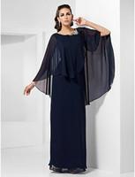 ligne boléro achat en gros de-2019 Mode exquise Scoop Neck en mousseline de soie perles à la main à volants Bolero Veste A-line longueur de plancher mère de la mariée robes