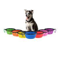 cão drop ship venda por atacado-Silicone Fold Tigelas de Cão com Anel Quickdraw Portáteis Portátil Talheres Alimentadores Diners Tigelas De Alimentos Para Animais de Estimação Suprimentos Drop Ship 360056