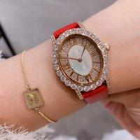 logotipo de marca de relógio de luxo venda por atacado-Com Marca LOGO luxo Mulheres Relógios Rosa de Ouro diamantes de couro enfrentar Lady relógio de pulso de quartzo de alta qualidade marca Designer relógios meninas presentes