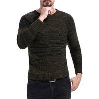 casual kleidung männer korea großhandel-GNIBIEL 2018 Männer Neue Kleidung Casual Herbst Pullover Aushöhlen Rundkragen Korea Slim Fit Streifen Pullover Pullover Kleid Strickjacke