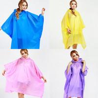 Wholesale rain coats yellow resale online - Portable EVA Translucent Raincoat Women Rain Poncho Coat Cloak Female Rainwear for Women Rain Gear M1835