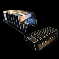 handy-display regal großhandel-7-Zellen-Acryl-Handyhalter-Halterung Digitale Produkte Display-Rack Handy-Display-Ständer Geldbörse Show Shelf ZC1131
