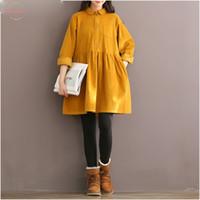 camisa de veludo amarelo venda por atacado-Alta Qualidade Corduroy Mulheres Vestido manga comprida Peter Pan Collar Mori Menina amarela Red Fur Outono Inverno shirt Vestidos Vestidos