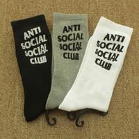 meias de moda venda por atacado-Atacado New Men \ 's Meias Brancas Pretas Abertura Moda Men \' s Sports Sockings Carta Imprimir Nas Meias De Algodão Tubo