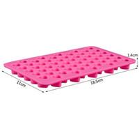 pasta için kalp kalıpları toptan satış-Silikon çikolata kalıpları kalp şekli 66 delik silikon kek kalıp silikon buz tepsi jöle kalıpları sabun kalıp kek bakeware araçları 11x18.5x1.4 cm
