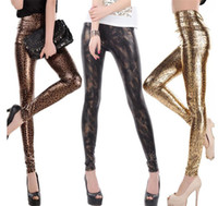 New High Waist Leggings Sexy Leopard And Snake Animal Print Leggings With PU Faux Leather For New Arrival Woman Fashion