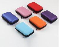 leder kopfhörer fällen großhandel-EVA-Kopfhörertasche Kopfhörer-Reißverschlusstasche Leder Tragbare Reise Aufbewahrungsbox USB-Kabel Organizer Tragetasche Hartgeldbörse Speicherkartentasche