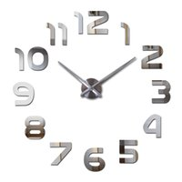 relógio de parede relógio de parede venda por atacado-New Design Relógio Relógio Wall Clocks Horloge 3D Diy Espelho acrílico Adesivos Decoração Sala de quartzo Agulha DIY Clocks