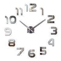 moderne neue design wanduhr groihandel-New Design Uhr-Uhr-Wanduhren Horloge 3D Diy Acryl Spiegel Aufkleber Hauptdekoration Wohnzimmer Quarz Nadel DIY-Uhren