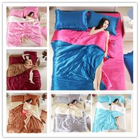 edredons de cor multi cor venda por atacado-Romântico Elegante 100% conjunto de cama de seda pura rei Twin Queen Size Roupas de Cama Em Casa Correspondência de cores para as mulheres da Capa Consolador