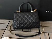petit sac en métal achat en gros de-Sacs femme shouder DHL Free 5A A92990 Sac à poignée à rabat en cuir de veau grainé Cavier 24cm