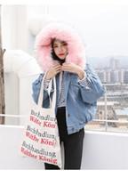 jaqueta denim feminina xl venda por atacado-Mulheres grossas Jeans Jacket Designer Faux Fur Moda Collar Jacket Inverno Casual Jacket Adolescente Womens Denim