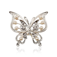 Wholesale bridal clips brooches resale online - 1X Fashion Elegant Butterfly Pearls Wedding Bridal Brooch Pin Covered Scarves Shawl Clip For women s Ladies Jewelry Silver