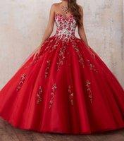 lavanda velha venda por atacado-Red Bordados Vestidos Quinceanera 2020 contas de cristal Tulle vestido de baile Vestidos de baile de 15 anos Debutante Querida Vestidos De 15 Anos