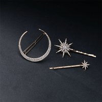 Wholesale rhinestone star hair clips resale online - Fashion Star Moon Rhinestone Hair Clip Hair Pin Women Girl Blingbling Full Crystal Hair Accessories Fine Jewelry T561