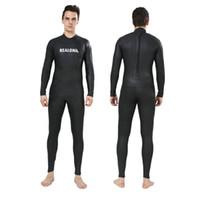 ternos lisos venda por atacado-REALON Completa Wetsuits 3mm Neoprene Suave Pele Terno de Mergulho Snorkeling Mens Surf Trajes de Triathlon wetsuit
