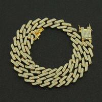 schmuckzinken großhandel-Die Bling King 20mm Zinke Kubanische Gliederketten Halskette Mode Hiphop Schmuck 3 Reihe Strass Iced Out Halsketten Für Männer GMX190711